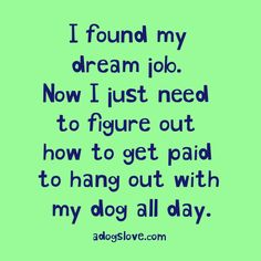 I Found My Dream Job!!!! Now I Just Need To Figure Out How To Get Paid To Hang Out With My Dog All Day!!!!