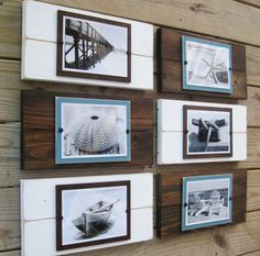 Cool idea! - I could make this   Set of 6 Plank Frames for 5x7 Pictures by ProjectCottage on Etsy