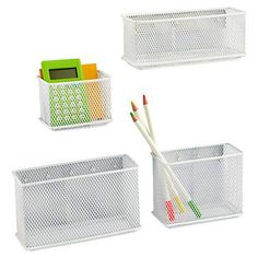 White Magnetic Mesh Bins | The Container Store