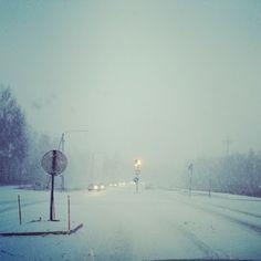 It is snowing in Vaasa Finland
