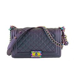 Pre-Owned NWT 16C Chanel Iridescent Purple Le Boy Classic Flap, Medium... ($5,599) ❤ liked on Polyvore featuring bags, handbags, blue purse, flap purse, flap handbags, iridescent handbag and blue bag