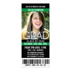 Black Green Photo Ticket Invitation   Graduation Collections