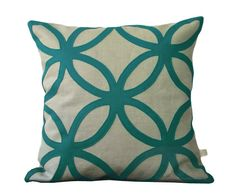 Teal Geometric DECORATIVE PILLOW COVER in Natural Linen by JillianReneDecor Modern Home Decor, via Etsy.