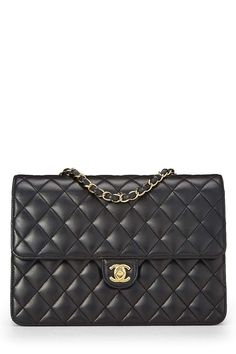 f2c78a140a64 CHANEL Black Quilted Lambskin Turnlock Ex Flap Medium (Pre-Owned)