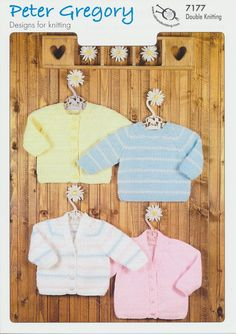 Peter Gregory Double Knitting DK Pattern Baby Sweater & Cardigans (7177) - Mill Outlets