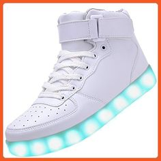 Velardeeee Sneakers Women High Top USB Charging LED Shoes Flashing Sneakers White13 B(M) US Fashionable - Sneakers for women (*Amazon Partner-Link)