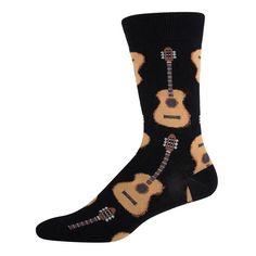 Socksmith Men's Guitar Socks Novelty Black Footwear Crew Sock #Socksmith #Casual