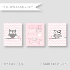 Pink Girl Owl Birth Stats, pink and gray nursery decor, chevron art, birth announcement, pink and gray baby girl wall art  by YassisPlace on Etsy, $35.00