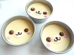 Puddings decorated with Bear faces. Too Cute!!