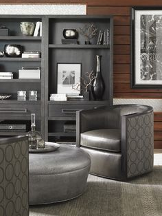 Carrera Claudia Leather Ottoman | Lexington Home Brands