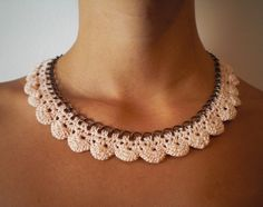 crochet onto chain to make a necklace. so pretty! Crochet Necklace Pattern, Crochet Bracelet, Crochet Earrings, Crochet Quilt, Knit Crochet, Crochet Borders, Crochet Patterns, Jewelry Crafts, Handmade Jewelry