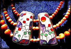 Collier, Email Cloisonne, Fassung 935 Silber, Perlen: Schaumkoralle