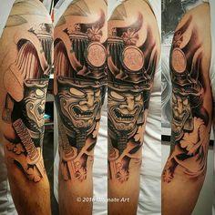 【colatherockstar】さんのInstagramをピンしています。 《Second session on this samurai cover up half sleeve #art #artist #artistic #artwork #bodyart #skinartists #skinart #tattooart #tattooartist #tattoo #tattooed #tattooedguys #halfsleeve #inprogress #blackandgreytattoo #coverup #newink #ink #inked #inkedup #tattedup #tatlife #inklife #samuraimask #koi #cherryblossoms #skincitystattoocompany #ladyofthelaketattoos #instatatt #instaart》