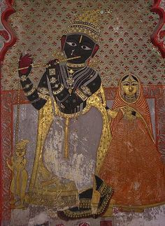14th century Fresco of Krishna on interior wall City Palace, Udaipur
