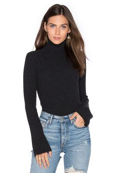 Autumn Cashmere x REVOLVE Ribbed Turtleneck Bell Sleeve Sweater in Lead