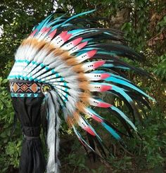 Dark Rainbow Feather Headpiece Kids Headdress Warbonnet Native Indian Style Costume Accessories Dress Up Party Festival