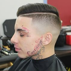 Hard Part Combover haircuts with facial tattoo