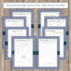 Black and Lime Green Baby Shower Game Mega Pack  by ModernBeautiful, $11.00