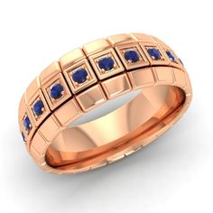Men's Wedding Band With Natural Blue Sapphire In 14k Rose Gold-6.5 mm Size 9.5 | eBay