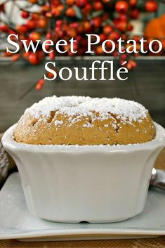 Sweet Potato Soufflé - a great addition to any Thanksgiving table. Pumpkin Pie Recipes, Fall Recipes, Holiday Recipes, Holiday Meals, Pumpkin Dessert, Paleo Dessert, Dessert Recipes, Breakfast Recipes, Easy Desserts