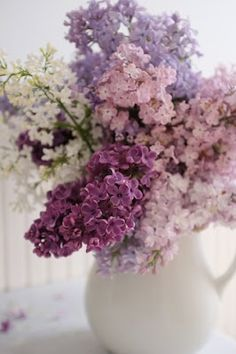 photo ... pitcher of lilacs ... many colors ...