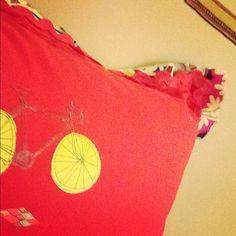 Dorm Room Decor-Red Retro Bicycle Cushion 20 x 20 perfect dorm by Reincarnation LLC, $15.00
