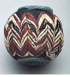 Islamic combed glass bead from Syria, showing beautiful crafting, 2.2 cm high from 300 to 400 B.C.