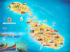 Malta Travel and Vacation map showing attractions – Travel Around The World – Vacation Reviews