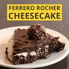 mit Cornflakes-Knusperboden, Haselnuss-Sahne-Frischkäse-Creme und Schokoldenglasur getoppt mit Rocher :) ganz einfach und schnell