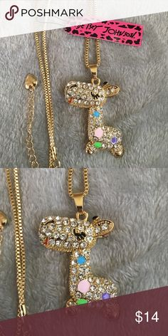 💕FUN💕 Rhinestone Giraffe Necklace 💕 Brand new with tag! Cutest gold necklace with silver rhinestones accented with colored enamel ! Betsey Johnson Jewelry Necklaces