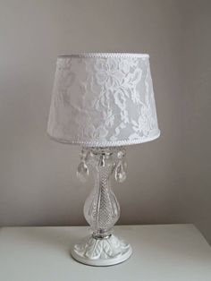 These lamps for entrance are a fabulous extension to your housing Lace Lampshade, Lampshade Redo, Lampshades, Chandelier Makeover, Lamp Makeover, Shabby Chic Antiques, Vintage Shabby Chic, Shabby Chic Zimmer, Shabby Chic Lamp Shades