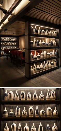 Nobu Downtown (NYC) has a collection of more than 70 handcrafted earthenware rice-wine bottles that fill two floor-to-ceiling open shelves. Japanese Restaurant Interior, Architecture Restaurant, Restaurant Interior Design, Best Japanese Restaurant, Nobu Restaurant, Restaurant New York, Chinese Restaurant, Restaurants In Nyc, Charred Wood