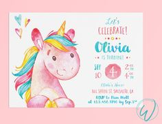 Unicorn Birthday Party Invitation | Little Girl Birthday Design | Made to Order | Digital File This is a MADE TO ORDER DIGITAL FILE (no print will be sent). NO postage costs and NO waiting for the mail to arrive! You have the freedom to print wherever you'd like and as many as you want! or Go Green by sending via email, text, or social media! Print at home or at any professional printing service. I recommend printing onto white card stock paper. I will send you a digital file of your…