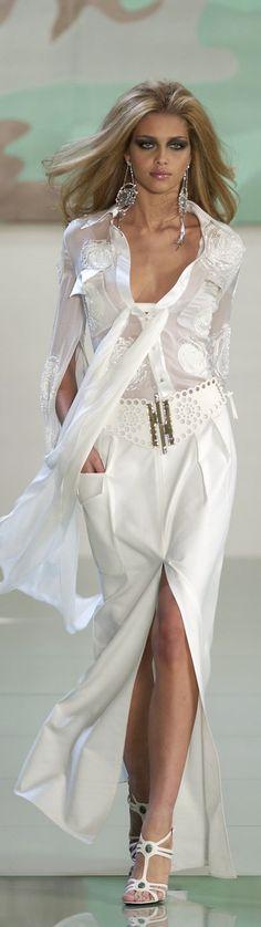 Valentino ~ White Sheer Blouse w White Maxi Skirt w Deep Front Slit