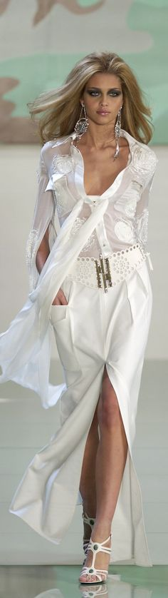 Valentino ~ White Sheer Blouse w White Maxi Skirt w Deep Front Slit