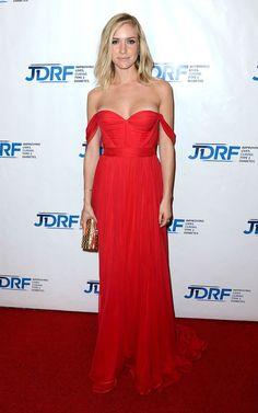 Kristin Cavallari in a red off-the-shoulder chiffon gown