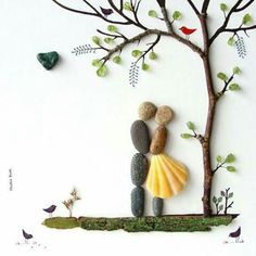 Wedding Gifts For Bride And Groom 50 of the Best Creative DIY Ideas For Pebble Art Crafts Stone Crafts, Rock Crafts, Arts And Crafts, Diy Crafts, Pebble Pictures, Stone Pictures, Art Pictures, Caillou Roche, Art Rupestre
