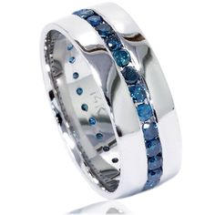 1.25CT Blue Diamond Channel Set Mens Wedding Comfort Fit 7.5MM Anniversary Bridal Ring Band 14K White Gold Size 4-12. $799.00, via Etsy.