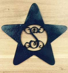 Unfinished Wood Star Shape Monogram Door Hanger Laser Cutout with Your Initial 4th of July Decor