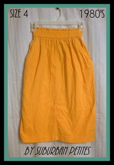 Vintage 1980s 80s Goldenrod Yellow Skirt by Suburban Petites - Size 4 - Elastic Waist - Pockets - 25 1/2in Long - BoHo Hipster - EUC by AliceInaBlueBox on Etsy