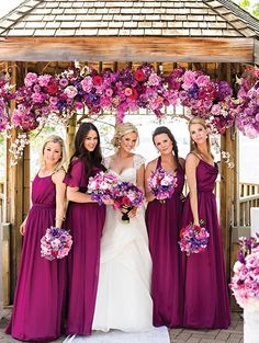 these will be close to my wedding colors I love the idea of wine bridesmaid dresses! Glamorous Wedding, Elegant Wedding, Perfect Wedding, Dream Wedding, Wedding Day, Wedding Ceremony, Wedding Blog, Elegant Bride, Wedding Beach