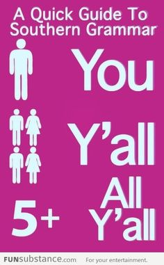 """Quick guide to southern grammar. ....I have definitely been known to say """"All Y'all"""""""