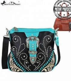 MONTANA WEST CONCEALED WEAPON HAND GUN CARRY WESTERN PURSE BLACK TURQUOISE BLUE