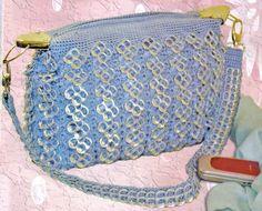 Imagen bolsa tejida con fichas azul sesgada - grupos.