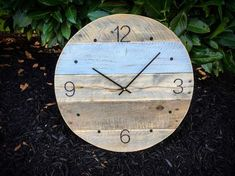 Large Reclaimed Wood Clock - Round w/ White Stripe - Numbers & Dots - Pallet Wood - Repurposed Gray Home Offices, Redeeming The Time, Wood Pallets, Pallet Wood, Quartz Clock Movements, Wood Clocks, Colour Pallete, Large Clock, Wood Grain