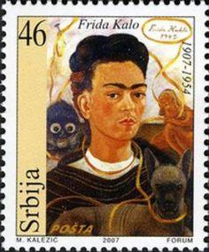 lonequixote: Frida Kahlo Serbian Stamp (via Diego Rivera, Postage Stamp Design, Munier, Frida Art, Kawaii Doodles, Mexican Artists, Historical Art, Vintage Stamps, Mo S