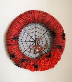 Spider Wreath, Halloween Wreath, Orange and Black Wreath, Large 14 inch size. $47.00, via Etsy.