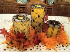 #PartyLite LED outdoor pillars with recycled stockings!