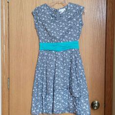 Fair Trade made Dress Grey and White,  Turquoise sash,  back zip Mata Traders Dresses