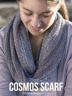 Cosmos Scarf Crochet Pattern | Free infinity scarf crochet pattern by Little…